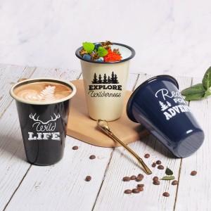 Hight Quality Enamel Mug V Shape Custom Camping Mugs for Coffee