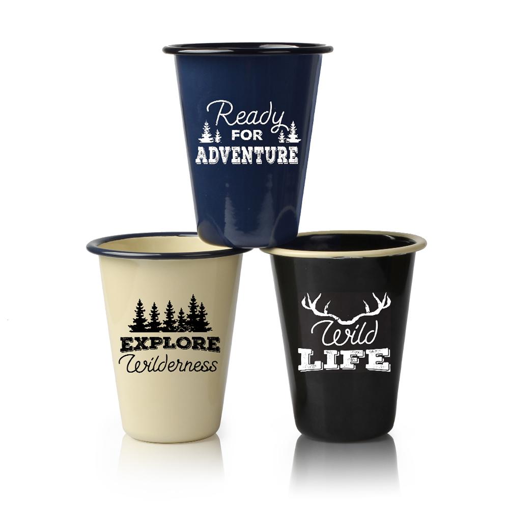 Hight Quality Enamel Mug V Shape Custom Camping Mugs for Coffee Featured Image