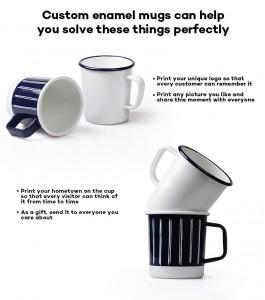 Wholesale 12 OZ V Shape Camping Enamel mug with Handle