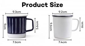 Factory Price 12 OZ V Shape Camping Enamel mug with Handle