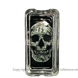 Cute Square Shape Glow In The Dark Sugar Skull Glass Ashtray