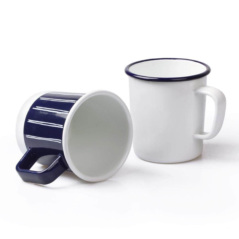 Factory Price 12 OZ V Shape Camping Enamel mug with Handle Featured Image