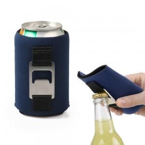 Reusable Full Color Neoprene Beer Slim With Opener Can Cooler Holder for Travel