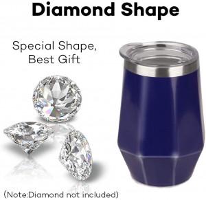 Wholesale 12oz Diamond Shape Stemless Stainless Steel Wine Tumbler Cups