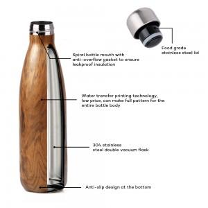 Hight Selling 17oz stainless steel water bottle coke shape bottle