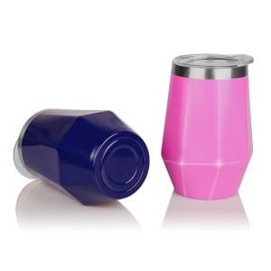 12oz Diamond Shape Stemless Stainless Steel Wine Tumbler Cups