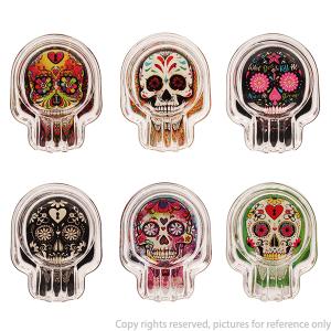 Glow In The Dark Skull Sticker On Bottom Glass Ashtray